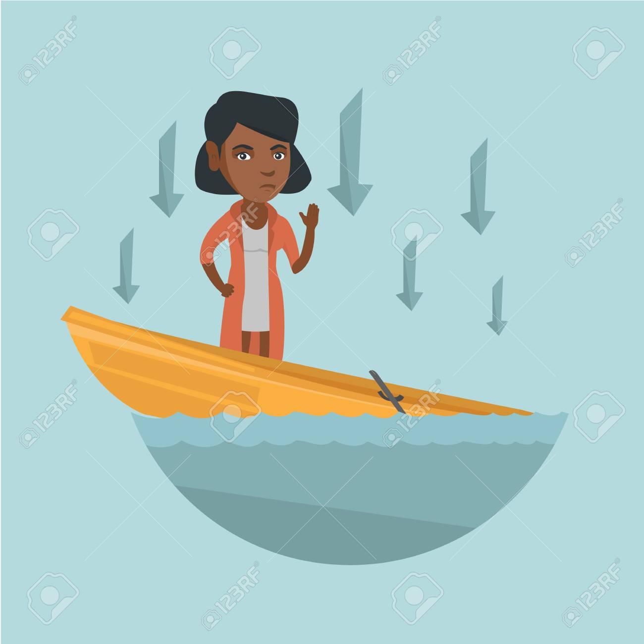 Jeune Femme D Affaires Afro Americaine Debout Dans Le Bateau Qui Coule Clip Art Libres De Droits Vecteurs Et Illustration Image 90227640