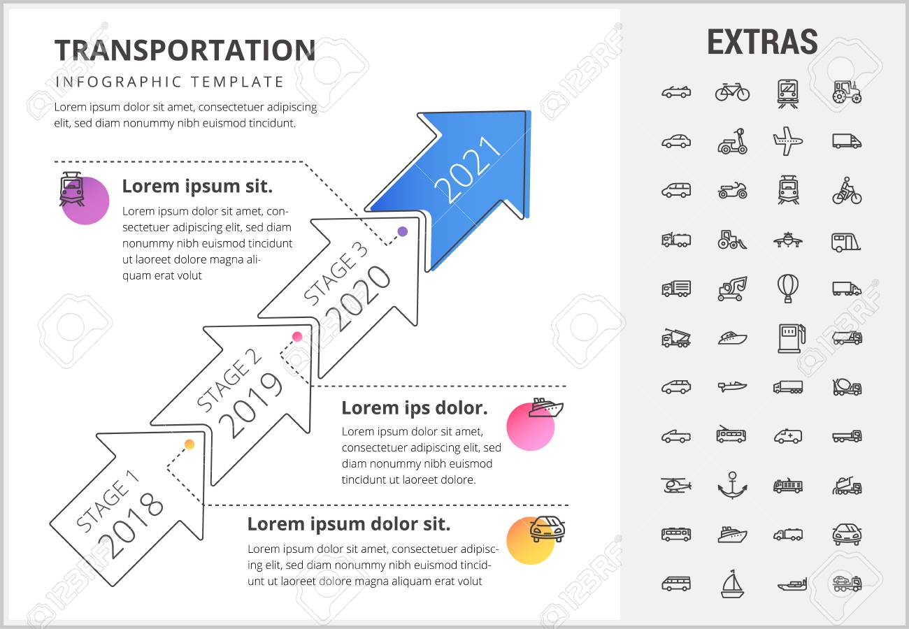 Transportation timeline infographic template, elements and icons