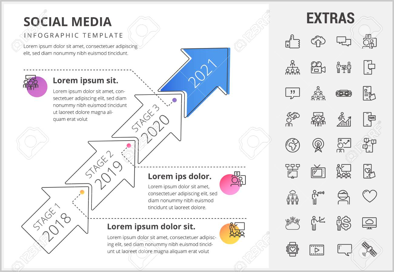 social media timeline infographic template elements and icons