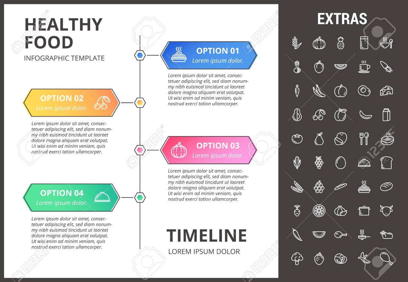 Healthy Food Timeline Infographic Template Elements And Icons