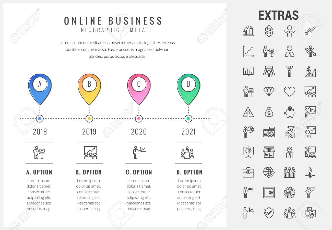 online business timeline infographic template elements and icons