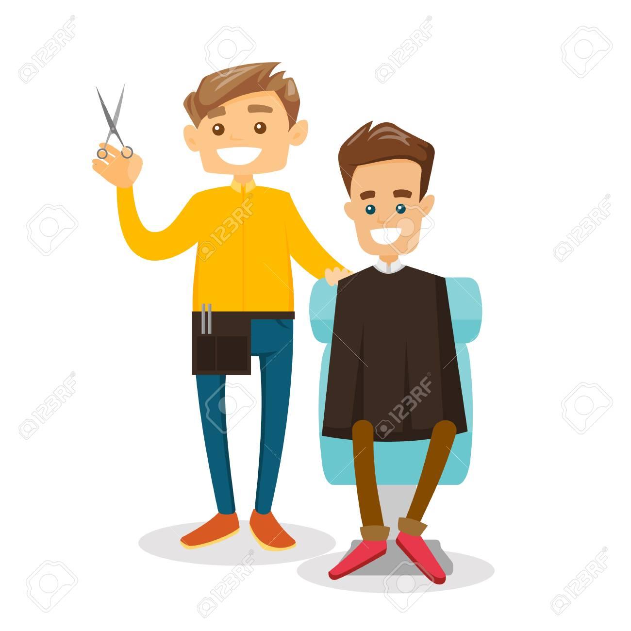 白人の白理容室理髪店で男の髪をカットします美容サロンにはさみ立って