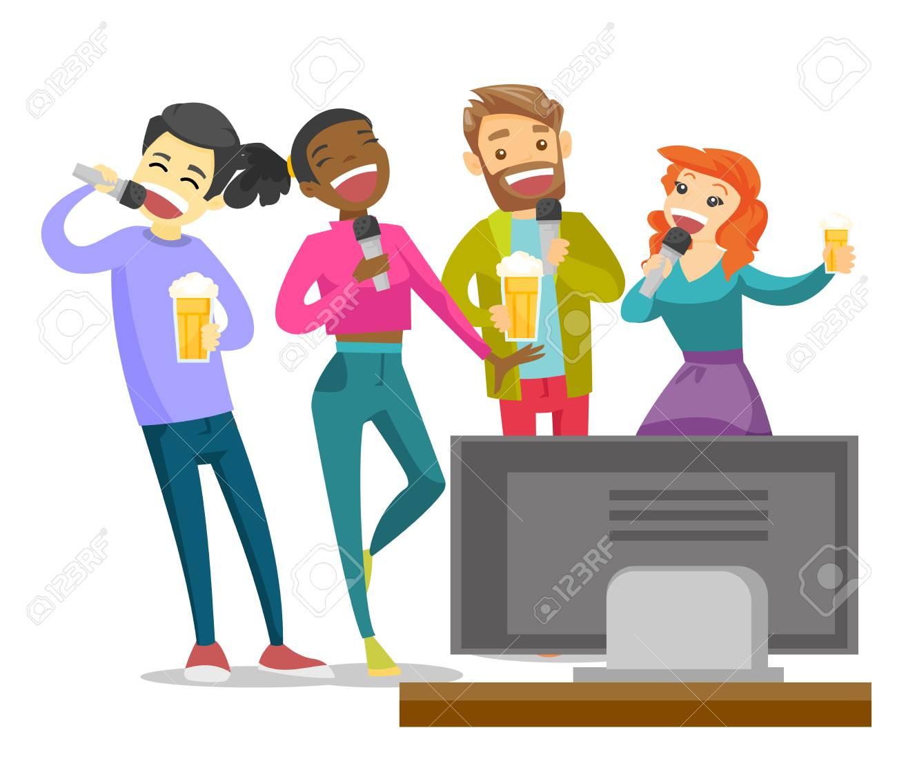 Jóvenes Amigos Multiétnicas Bebiendo Cerveza Y Cantando Karaoke