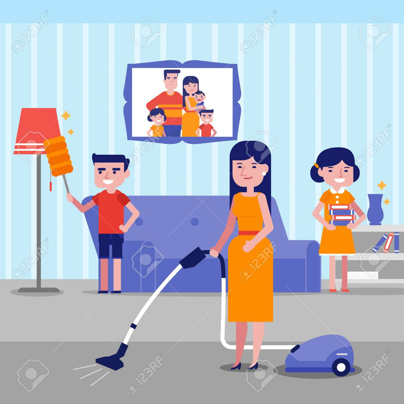 Caucasian White Family Having Fun While Cleaning Living Room