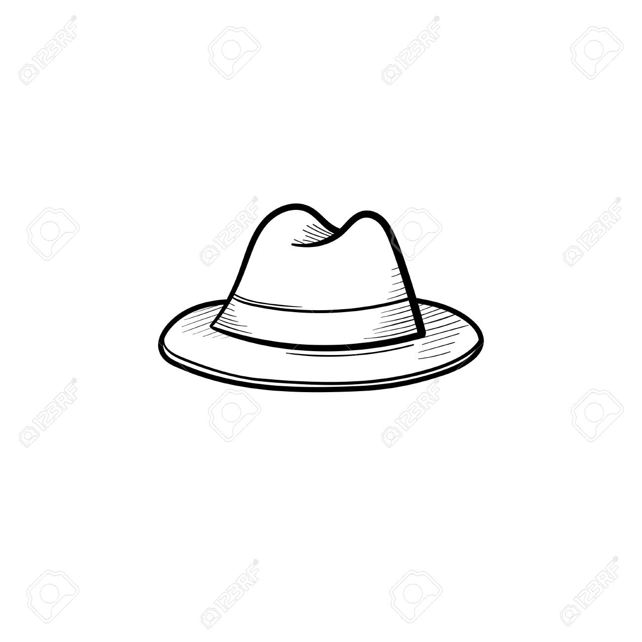 c0001166a72 Vector - Vector hand drawn fedora hat outline doodle icon. Trilby sketch  illustration for print