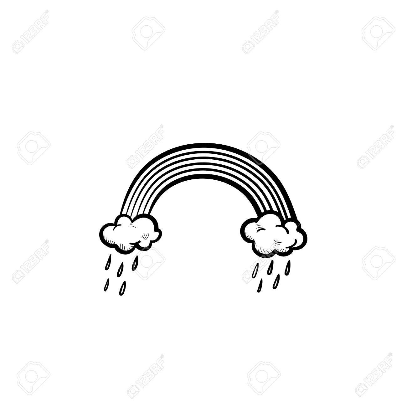 Vector Hand Drawn Rainbow And Raining Clouds Outline Doodle Icon