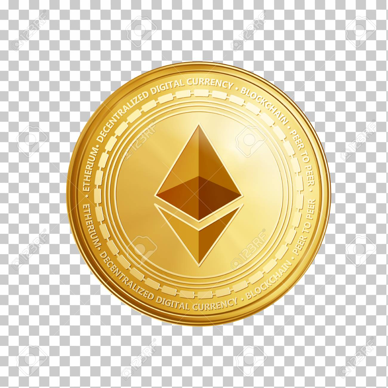 Golden ethereum coin. Crypto currency golden coin ethereum symbol isolated on transparent background. Realistic vector illustration. - 91650083