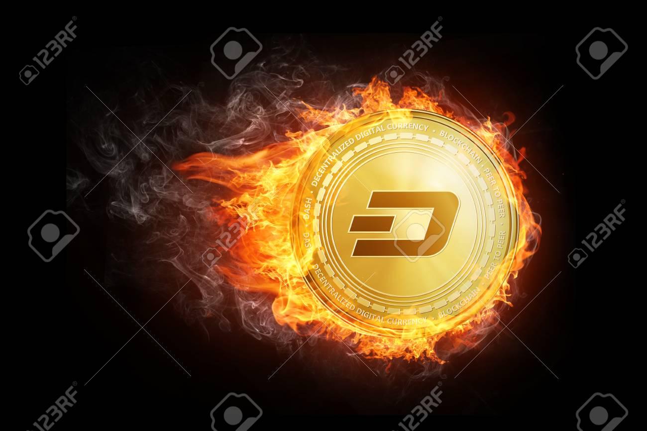 Golden Ethereum Coin Flying In Fire Flame Blockchain Token Grows