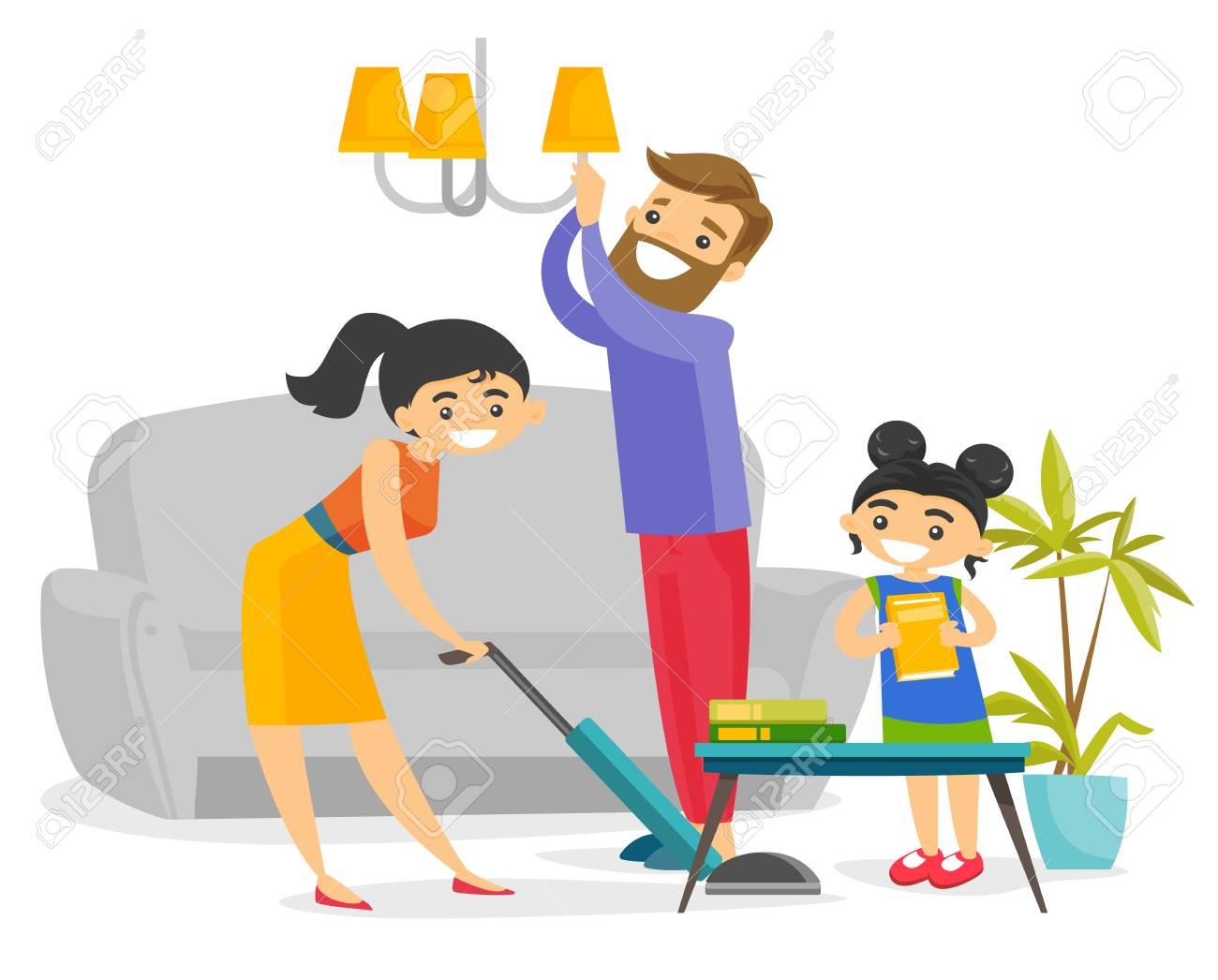 Junge Kaukasische Weiße Familie, Die Spaß Beim Wohnzimmer Zusammen ...