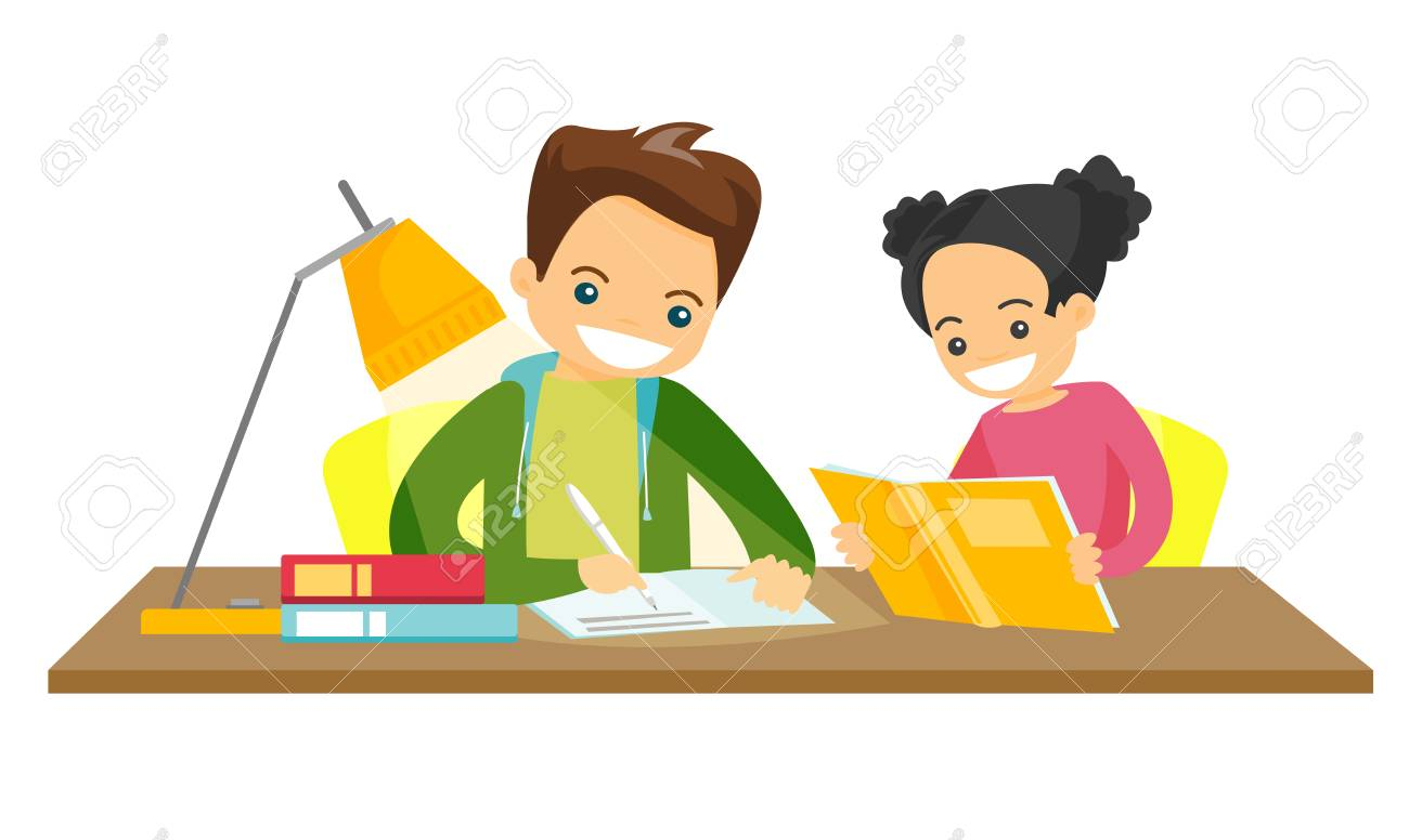 Young caucasian white brother and sister sitting at the table and doing homework at home together. Girl reading a book while her brother writes in exercise book. Vector isolated cartoon illustration. - 92651799