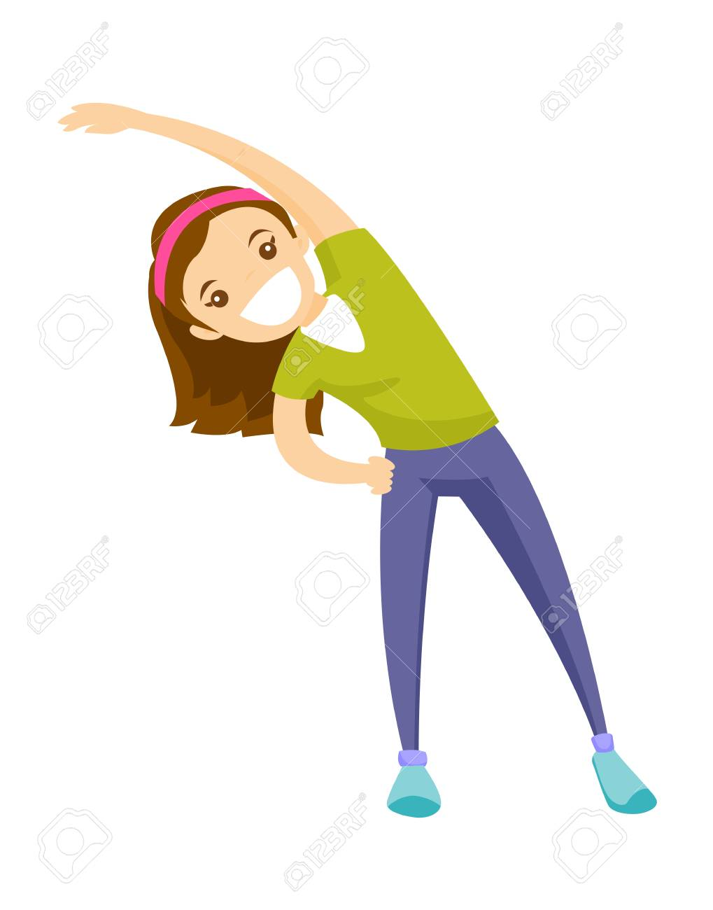 Young Happy Caucasian White Girl Doing Stretching Warm Up Exercise Royalty Free Cliparts Vectors And Stock Illustration Image 92911236