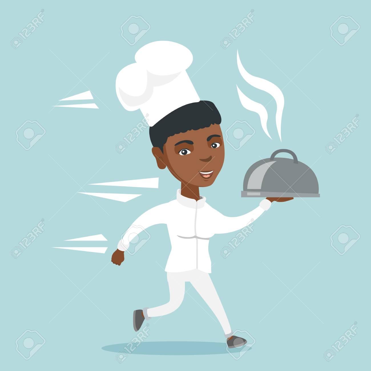 Chef Femme Afro Américaine Cuisiner Dans Un Chapeau Et Uniforme