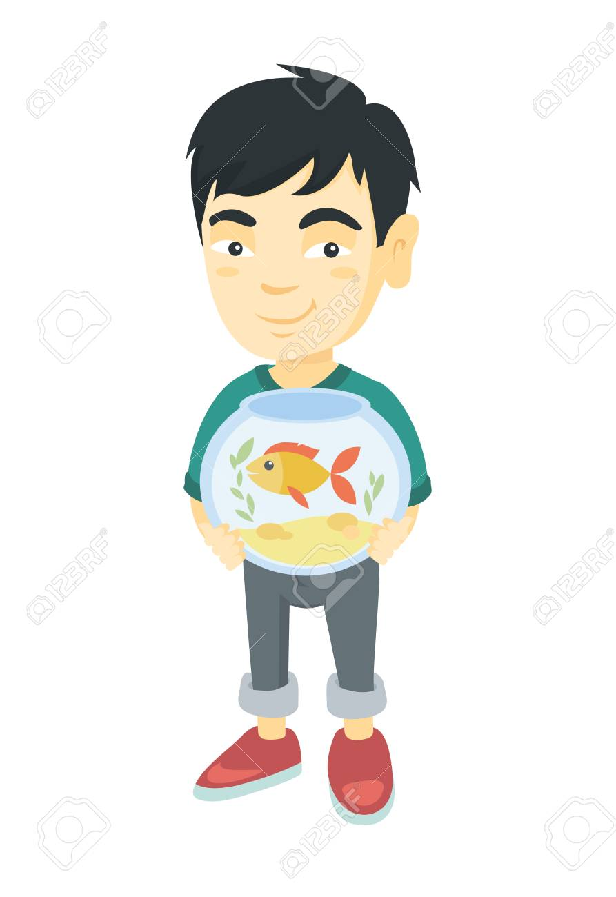 Asian Boy Holding Aquarium With Goldfish Full Length Of Smiling Royalty Free Cliparts Vectors And Stock Illustration Image 93449471