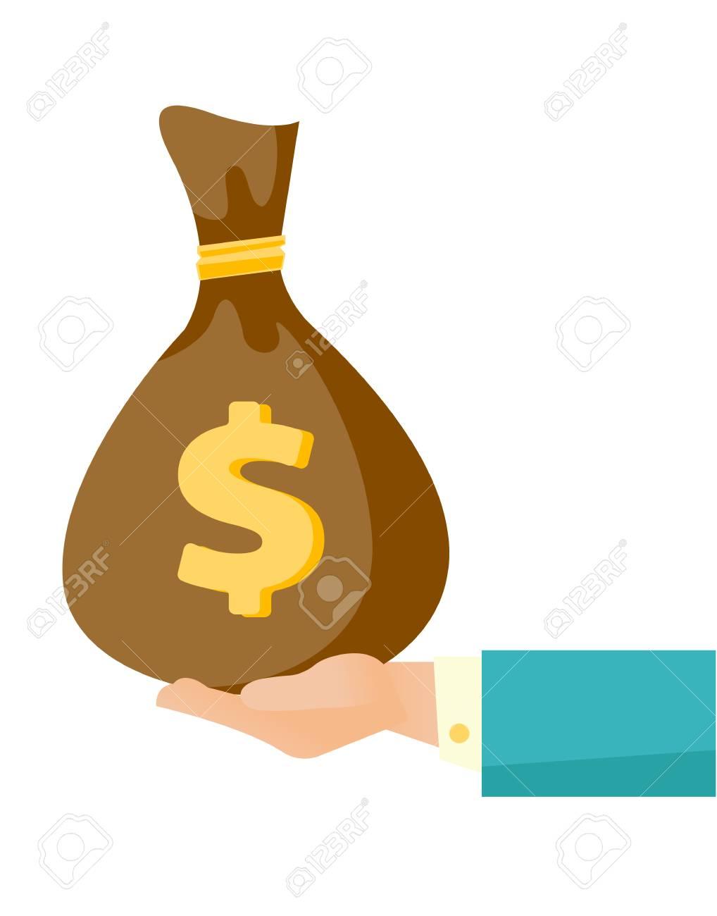 businessman hand holding a money bag vector cartoon illustration rh 123rf com holding money bag vector money bag vector icon