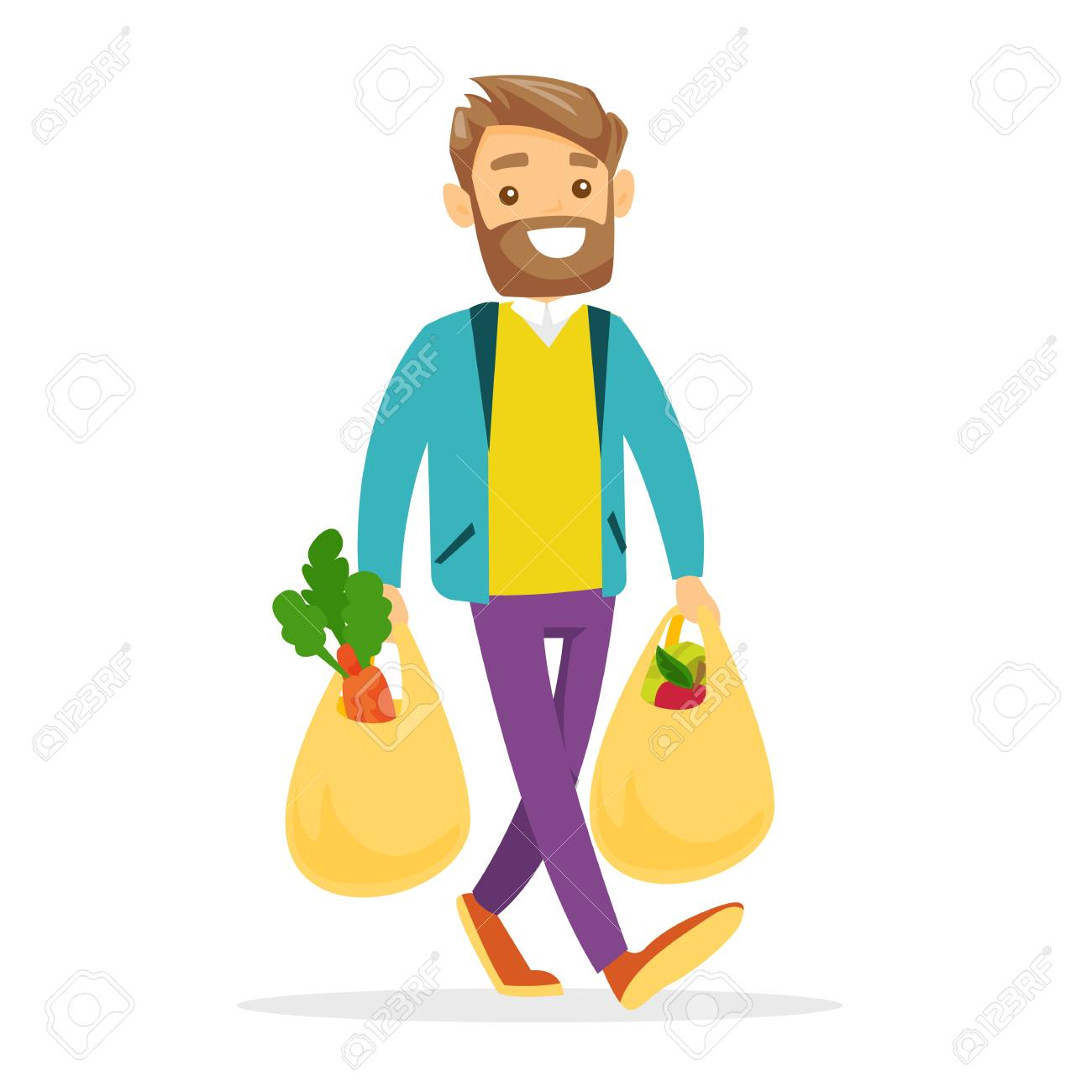 Young Caucasian white man walking with plastic shopping bags with healthy vegetables and fruits. - 96103932