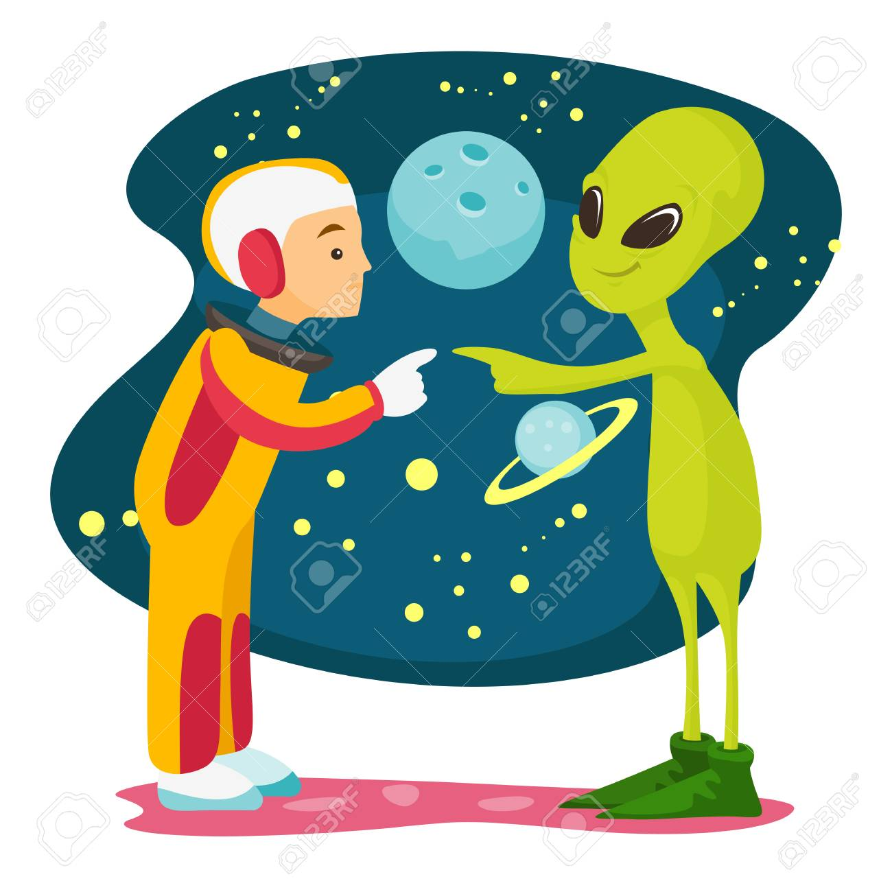 Caucasian white space exploration astronaut and green alien meet for the first time. - 96104100
