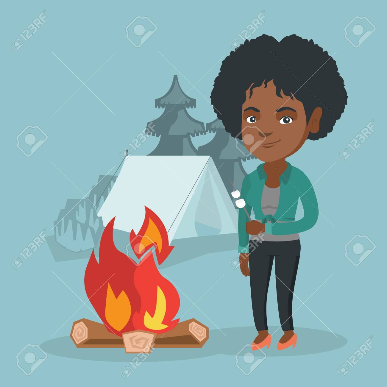 African Woman Roasting Marshmallows Over Campfire On The Background Of Camping Site With A Tent