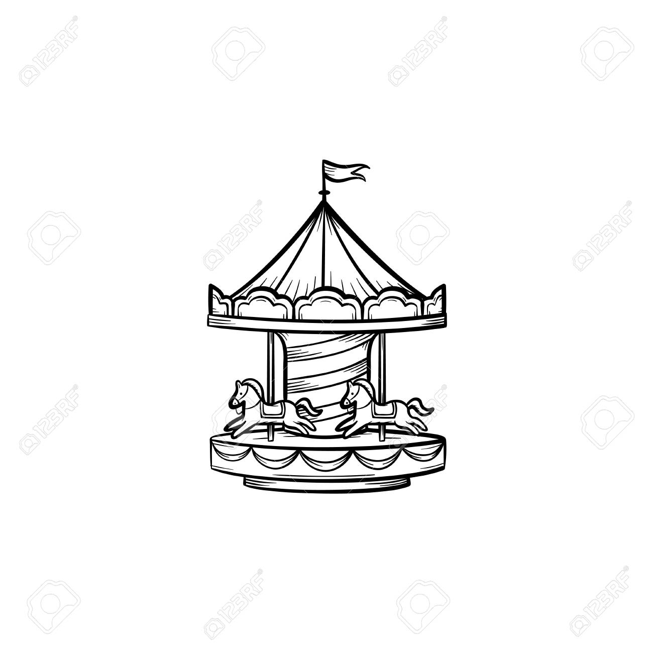 Merry Go Round Hand Drawn Outline Doodle Icon Carousel Vector Royalty Free Cliparts Vectors And Stock Illustration Image 96443367