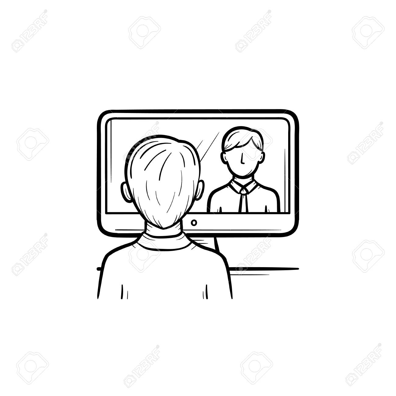 Man Sitting In The Office Running Video Conference Vector Hand