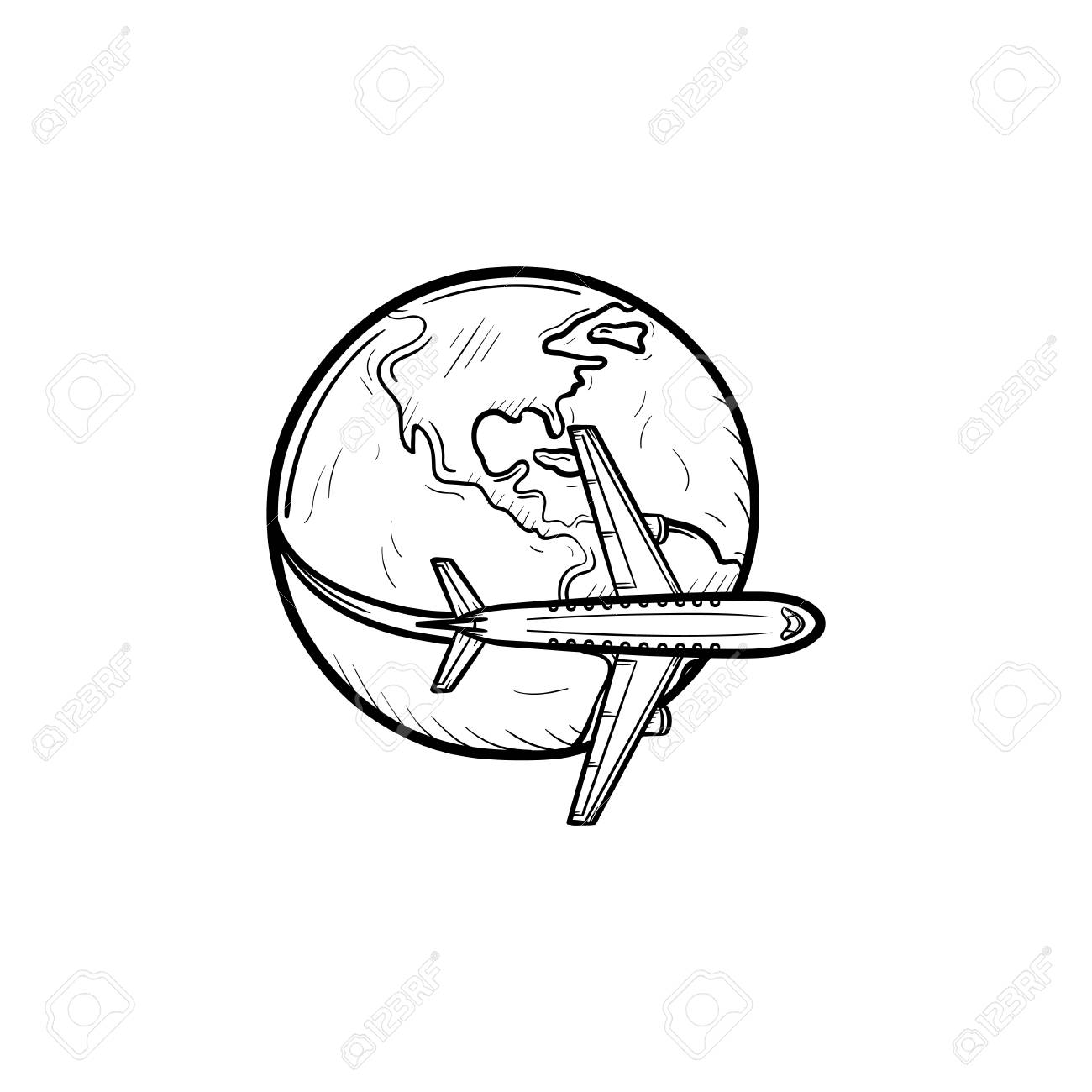 Airplane flying around the world hand drawn outline doodle icon