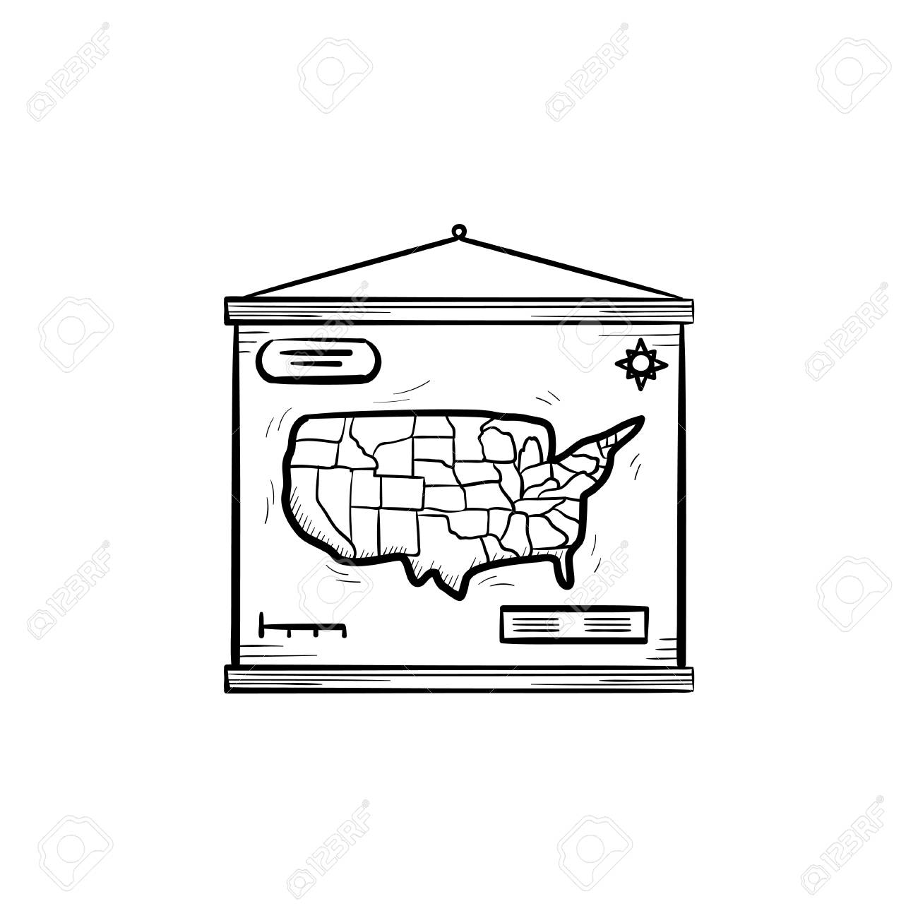 World map hand drawn outline doodle icon school world map hanging vector world map hand drawn outline doodle icon school world map hanging on the wall vector sketch illustration for print web mobile and infographics gumiabroncs Images