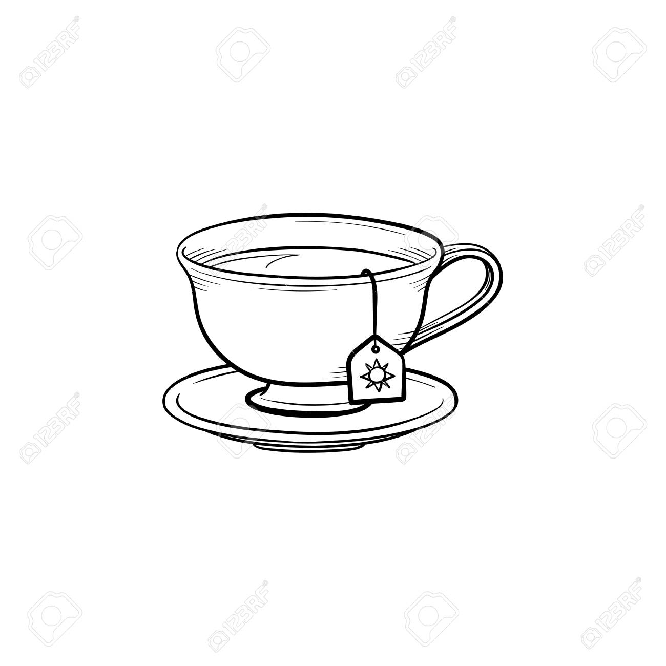 Cup With Tea Bag Hand Drawn Outline Doodle Icon Hot Drink Royalty Free Cliparts Vectors And Stock Illustration Image 97126877