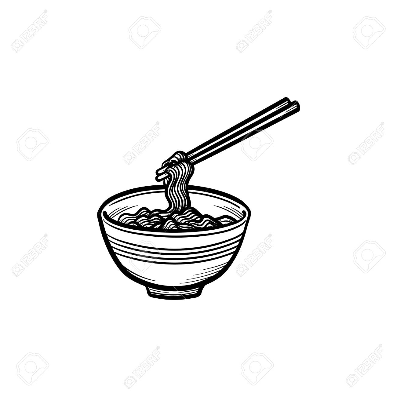 Bowl Of Noodles Hand Drawn Outline Doodle Icon Noodle Soup Vector Royalty Free Cliparts Vectors And Stock Illustration Image 97158915