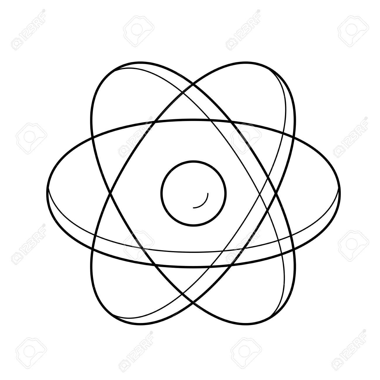 Atom Structure Line Icon Isolated On White Background Vector Of Model For
