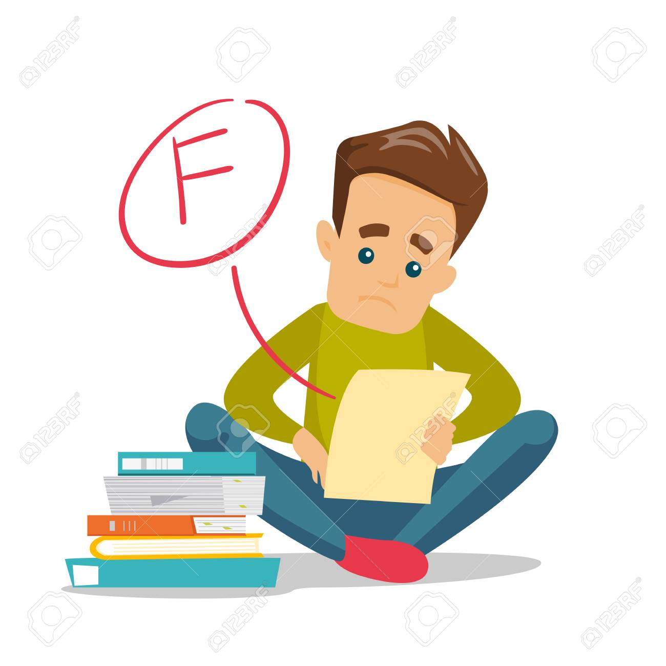 Unhappy caucasian white student disappointed by test with F grade. Sad student looking at the test paper with bad mark. Education concept. Vector cartoon illustration isolated on white background. - 97555795