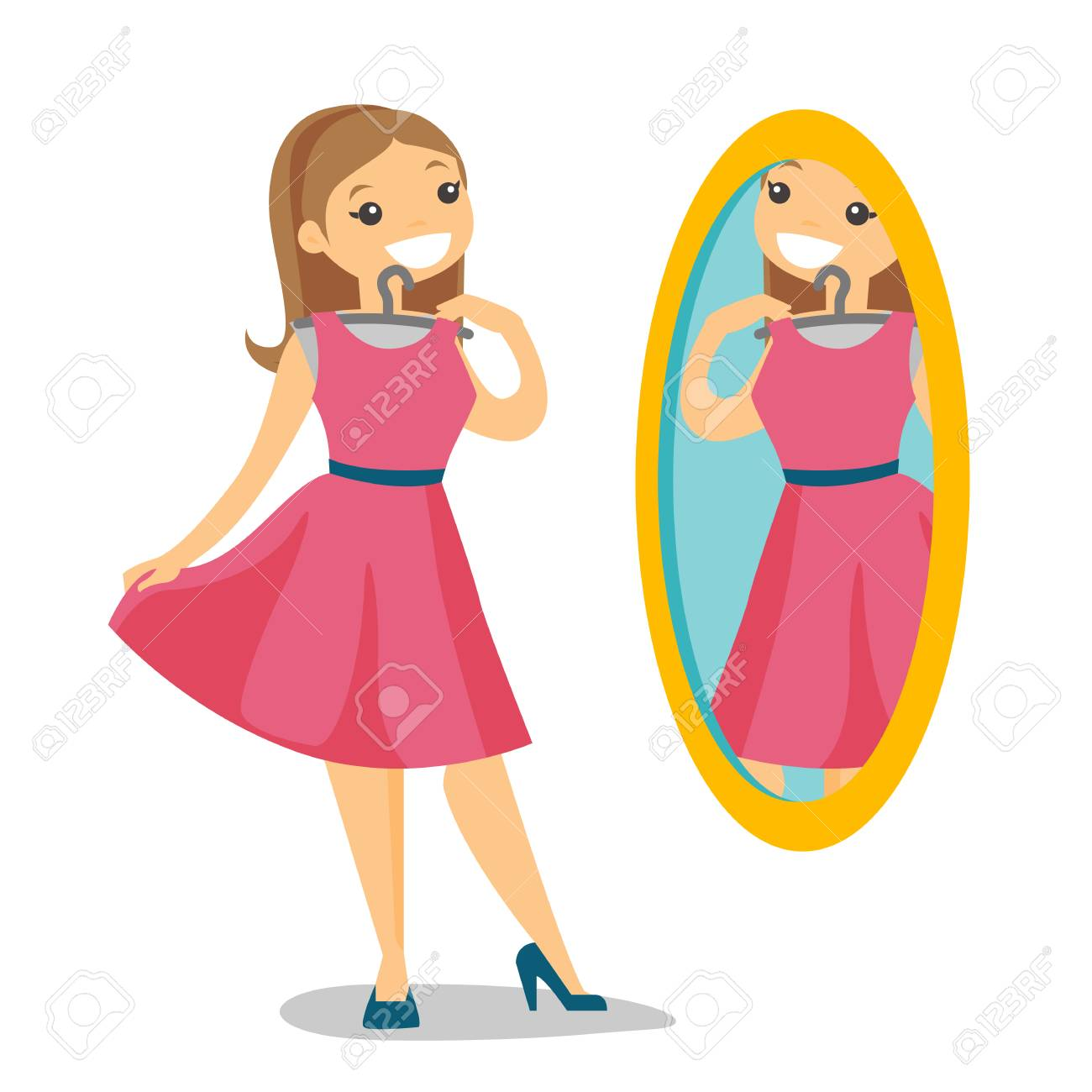 Caucasian White Woman Trying On Dress And Looking At Herself Royalty Free Cliparts Vectors And Stock Illustration Image 104543782