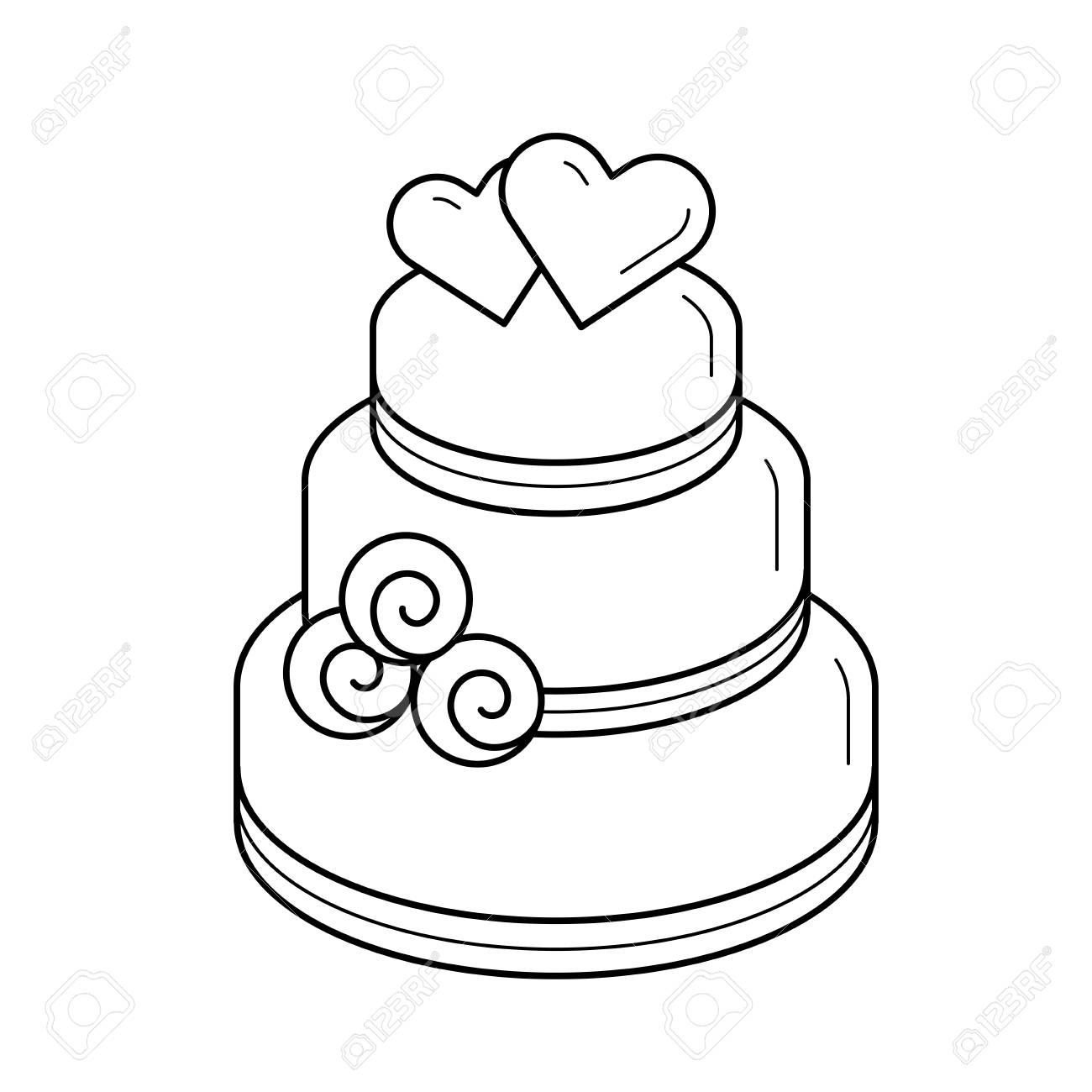 Wedding Cake Vector Line Icon Isolated On White Background Layered