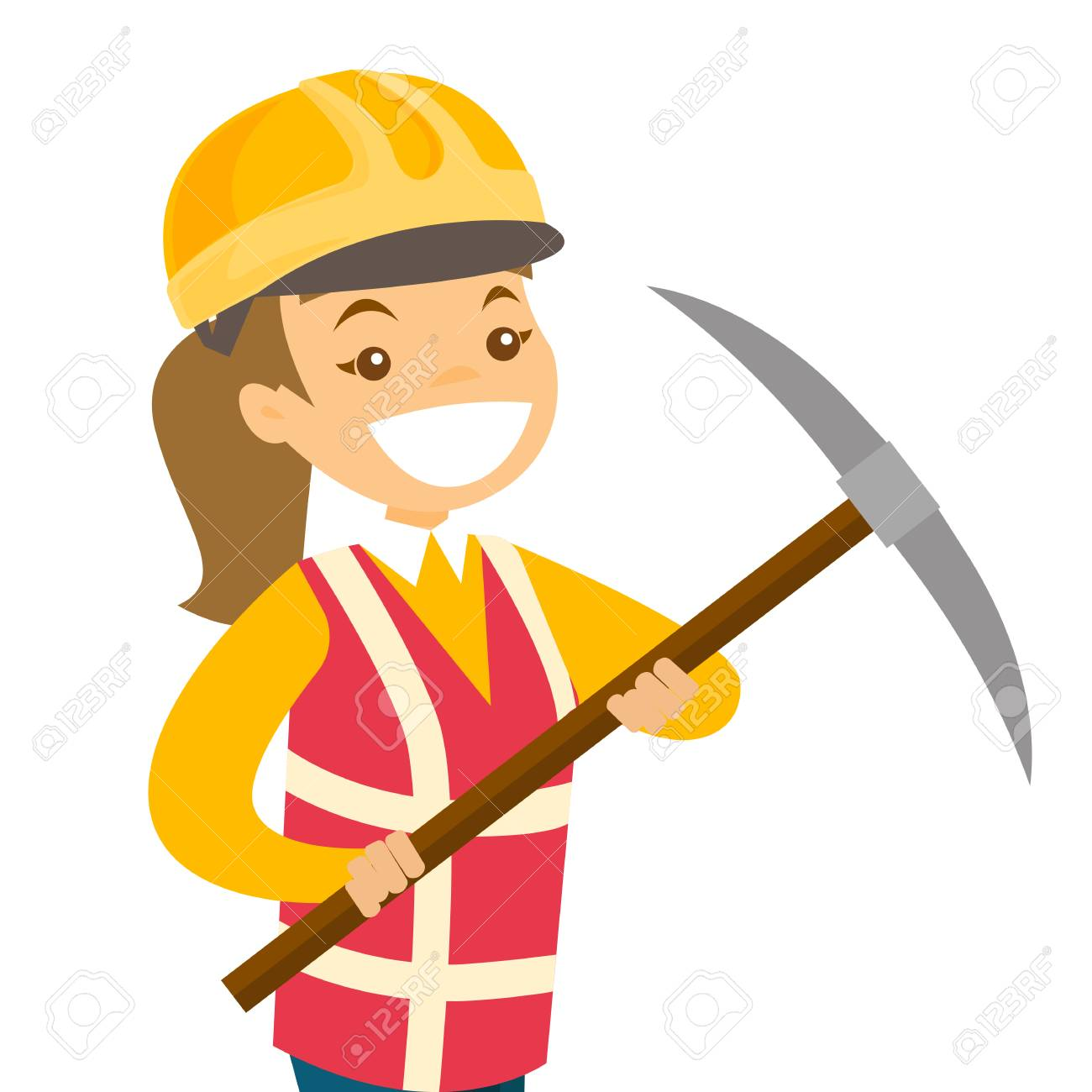 Caucasian White Miner In Hard Hat Standing Next To The Mining Royalty Free Cliparts Vectors And Stock Illustration Image 98048485