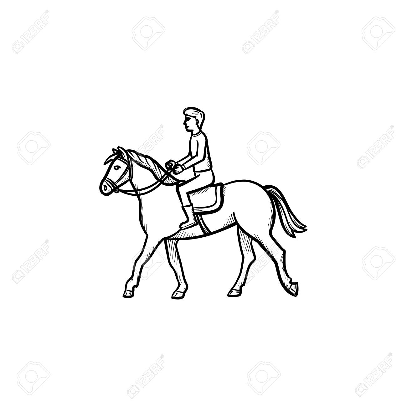 Man Riding Horse With Saddle Hand Drawn Outline Doodle Icon Royalty Free Cliparts Vectors And Stock Illustration Image 103611442