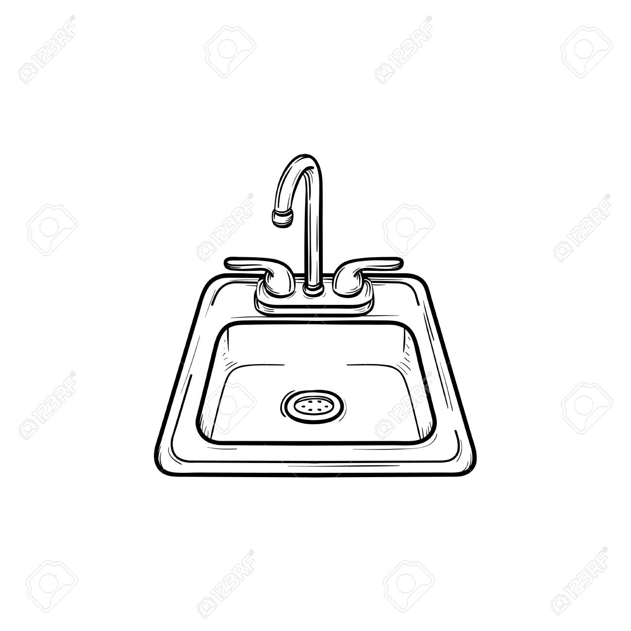 Toilet Sink Hand Drawn Outline Doodle Icon Vector Sketch Illustration For Print Web