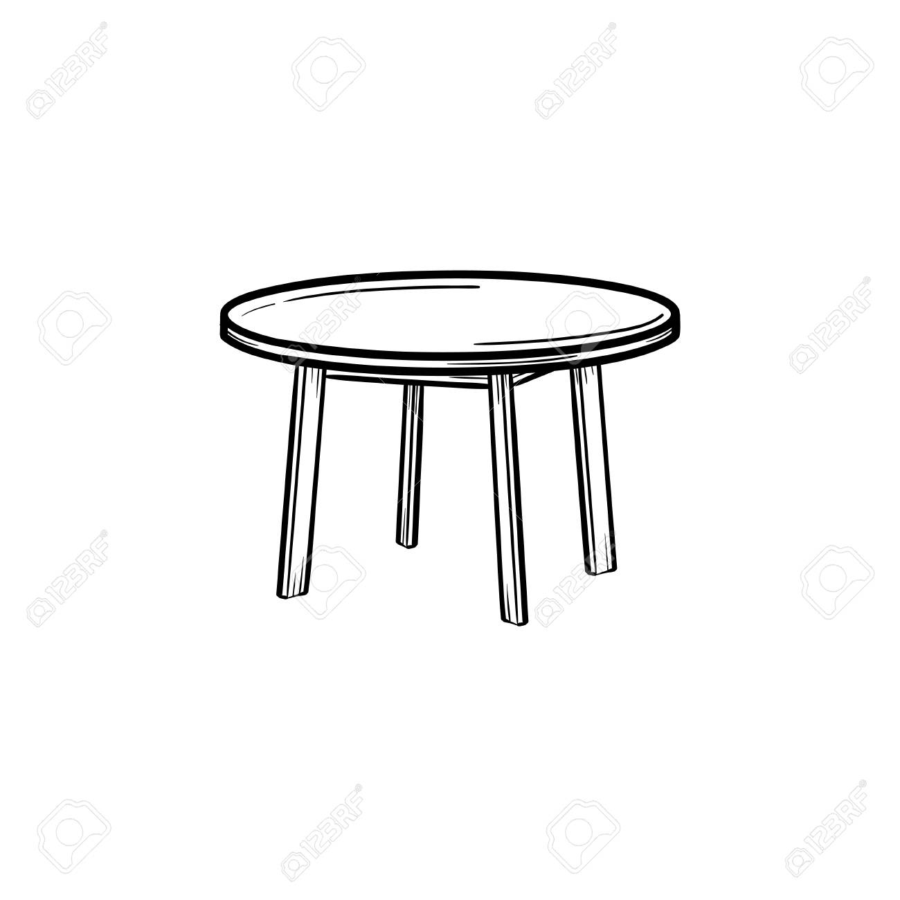 Amazing Round Table Hand Drawn Outline Doodle Icon Coffee Table Vector Pabps2019 Chair Design Images Pabps2019Com