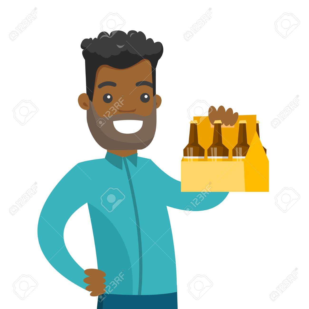 Young African American Happy Smiling Man Holding Pack Of Beer Royalty Free Cliparts Vectors And Stock Illustration Image 99099179