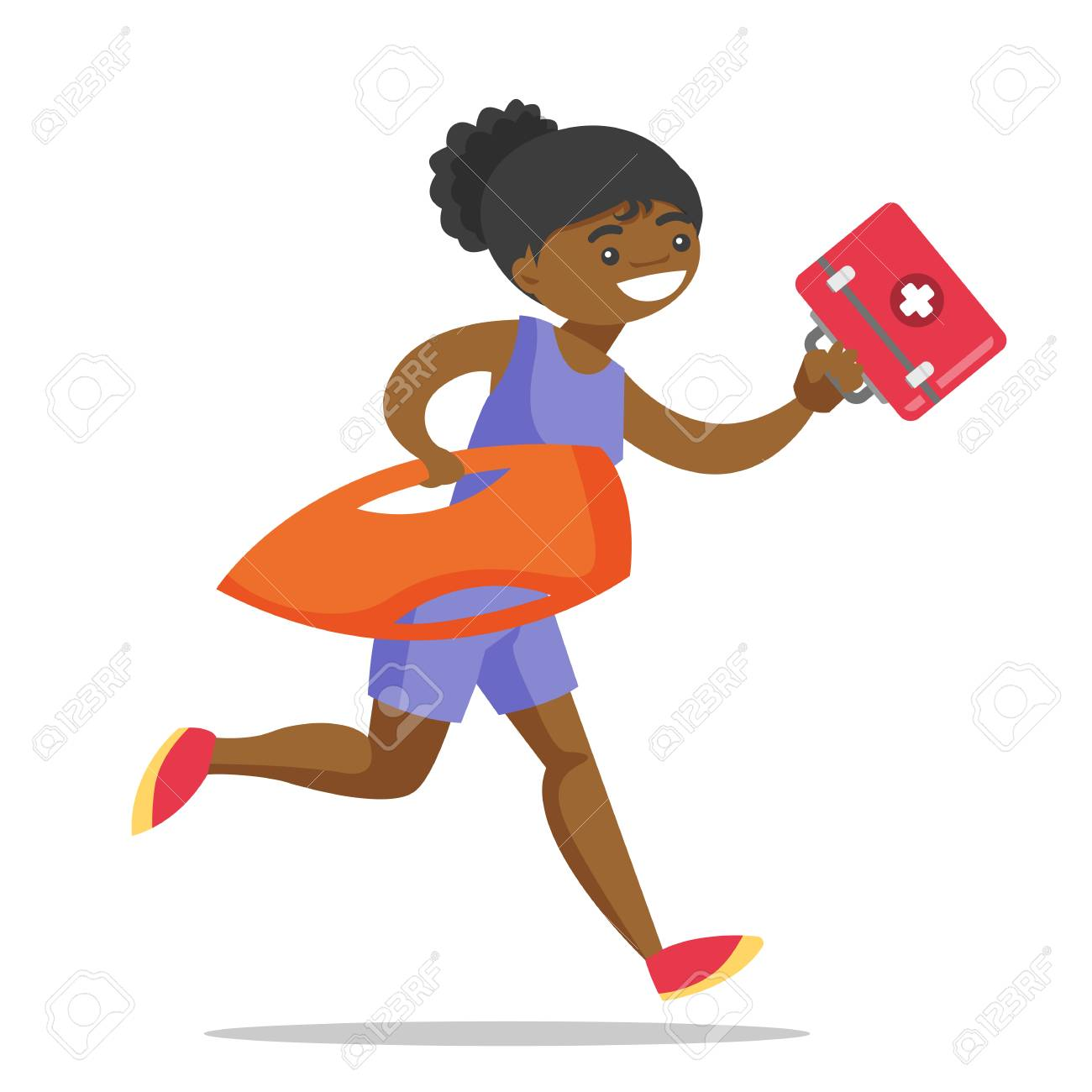 58651a8636c4 Vector - Young african-american female lifeguard in red swimsuit running  with life preserver buoy and first aid box. Professional rescuer holding  lifesaver ...