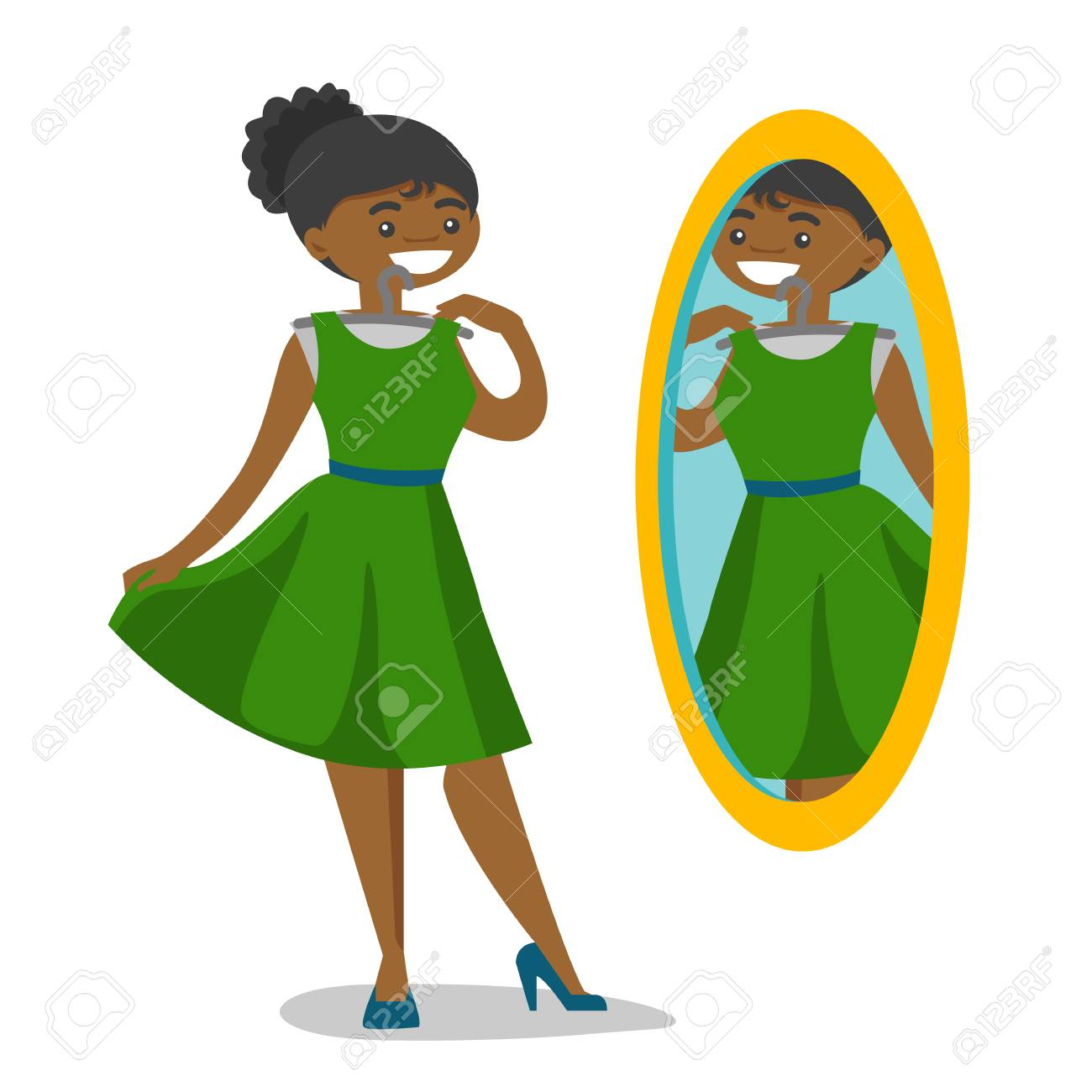 African-american woman trying on dress and looking at herself in the mirror in the dressing room. Woman choosing clothes in the dressing room. Vector cartoon illustration isolated on white background. - 99155447