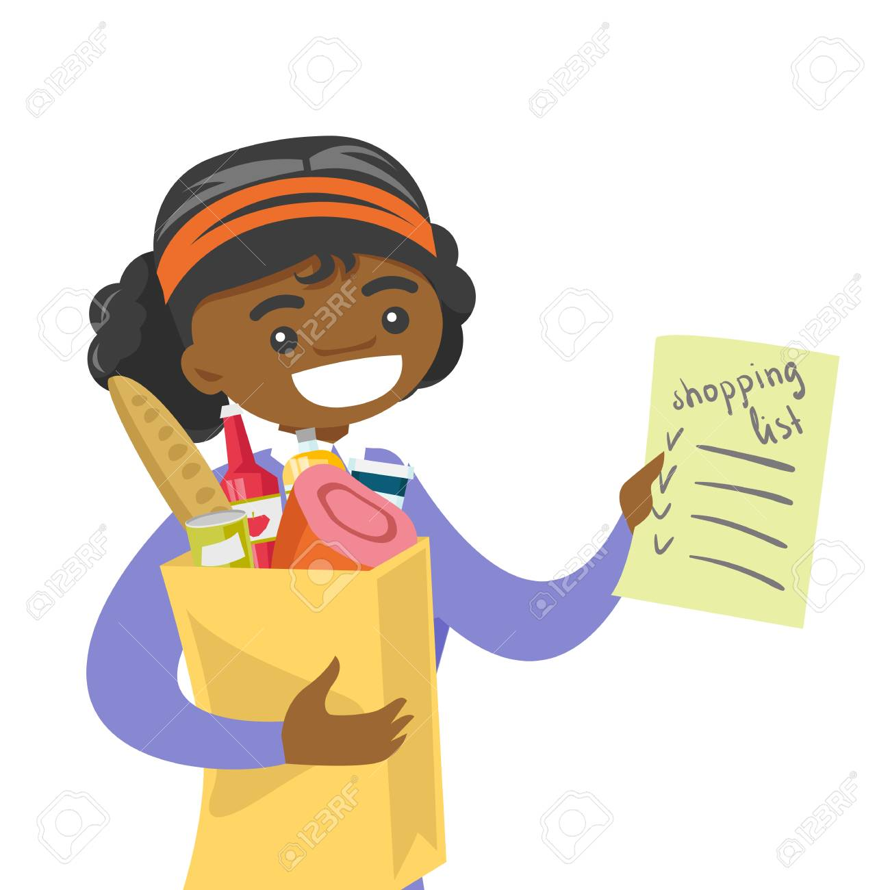 vector young african american woman checking shopping list in the grocery store smiling woman holding shopping list and paper bag with products