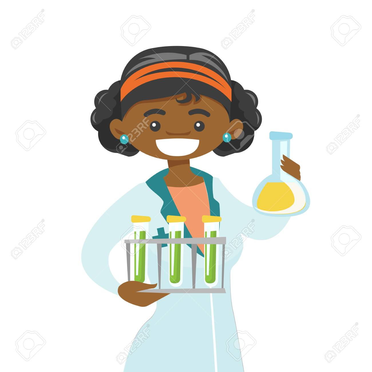 Vector Young African American Laboratory Assistant Holding Test Tubes And Beaker Scientist Analyzing Samples In Test Tubes
