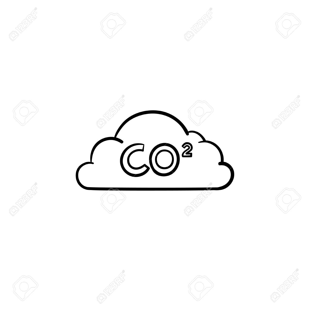 Co2 cloud hand drawn outline doodle icon air pollution concept