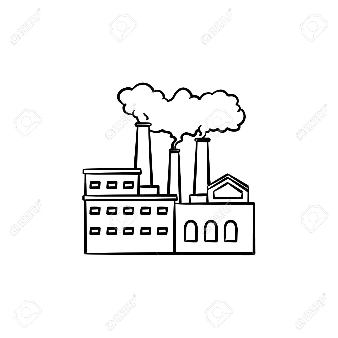 Factory hand drawn outline doodle icon air pollution by smoke