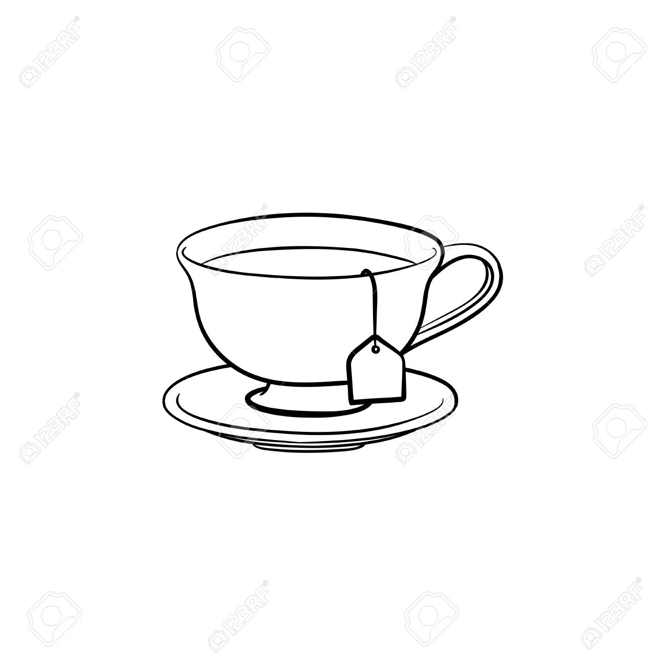 Cup With Tea Bag Hand Drawn Outline Doodle Icon Hot Drink Royalty Free Cliparts Vectors And Stock Illustration Image 100015982