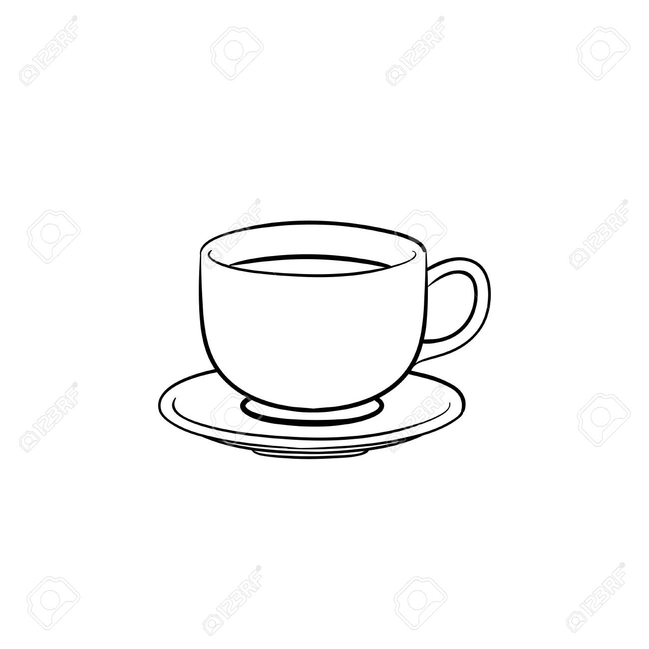 Coffee Cup Hand Drawn Outline Doodle Icon Saucer And Cup Of Royalty Free Cliparts Vectors And Stock Illustration Image 100021618