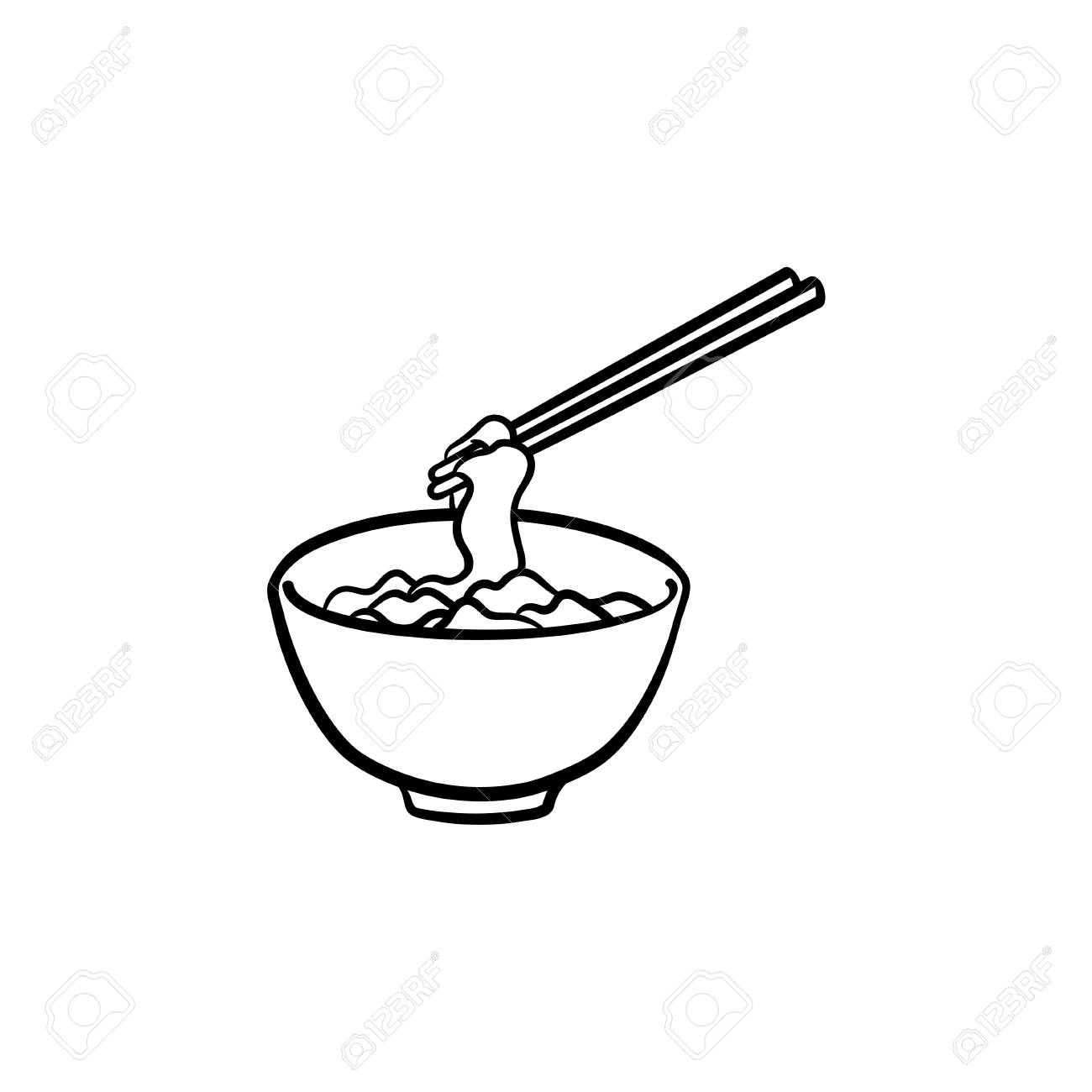 Bowl Of Noodles Hand Drawn Outline Doodle Icon Noodle Soup Vector Royalty Free Cliparts Vectors And Stock Illustration Image 100016405