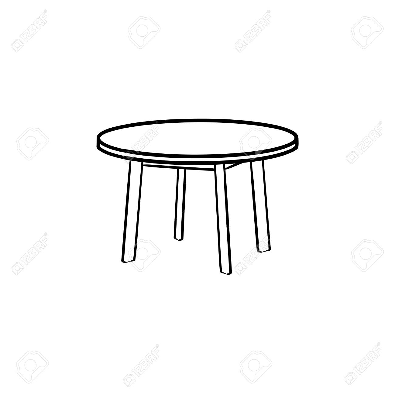 Mobile Coffee Table.Round Table Hand Drawn Outline Doodle Icon Coffee Table Vector