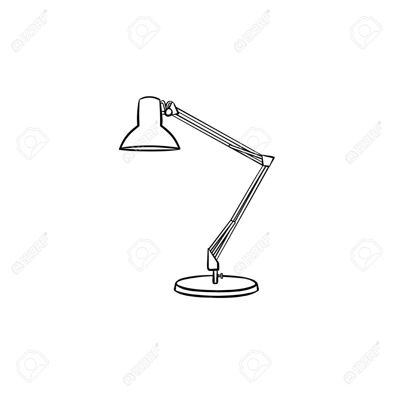 Table Lamp Hand Drawn Outline Doodle Icon Adjustable Desk Lamp