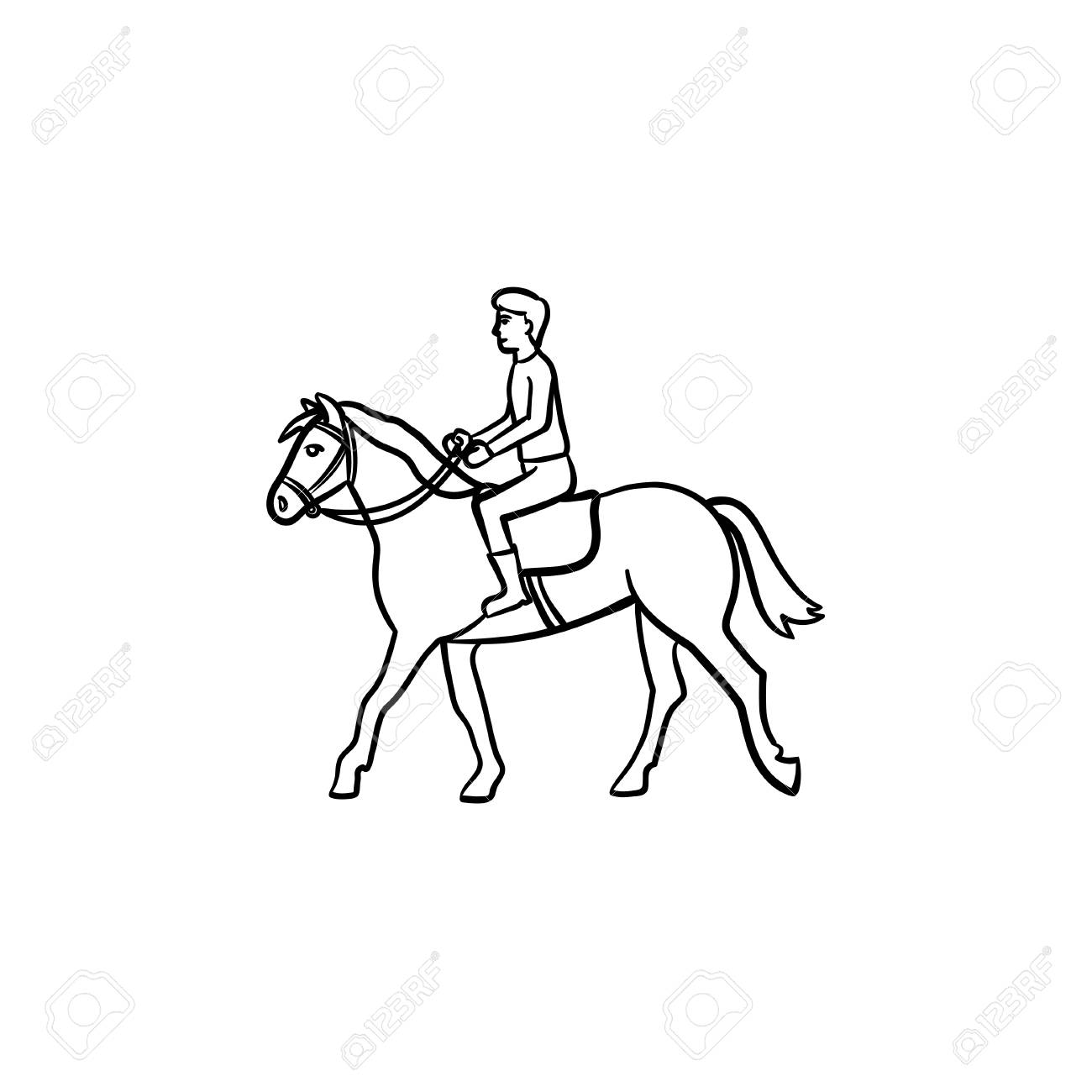 Man Riding Horse With Saddle Hand Drawn Outline Doodle Icon Royalty Free Cliparts Vectors And Stock Illustration Image 100016054