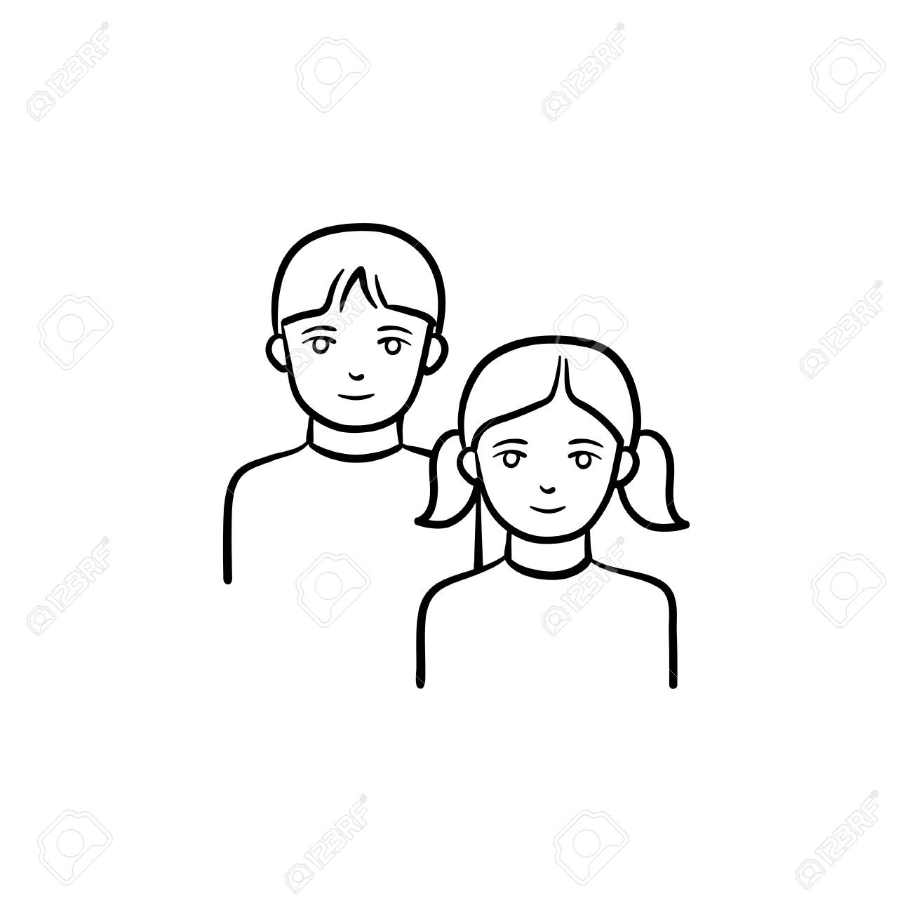 Girl and boy hand drawn outline doodle icon youth vector sketch illustration for print