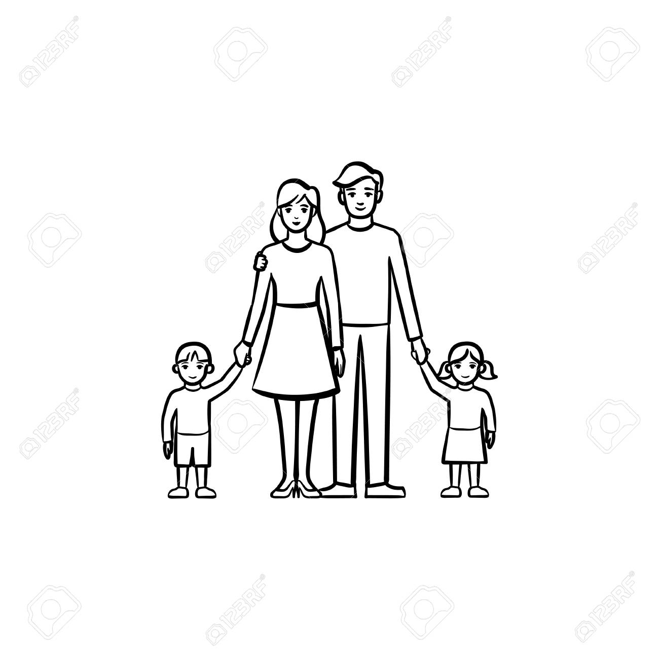 Family Relationship Hand Drawn Outline Doodle Icon Vector Sketch Stock Photo Picture And Royalty Free Image Image 100021563
